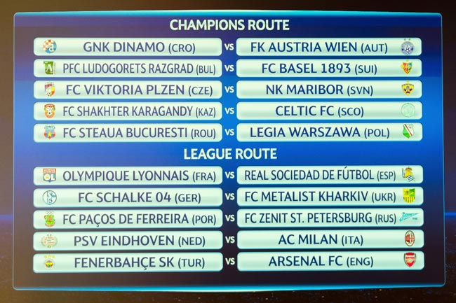 Champions League Loting Picture: Loting Play-offs Champions League En Europa League: PSV
