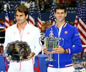Federer en Djokovic US Open 2015 Getty